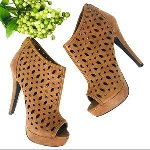 Delicious Brown Platform Open Toe Heels